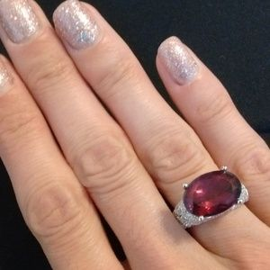 New Oval Raspberry Plum Sterling Silver Ring sz 6